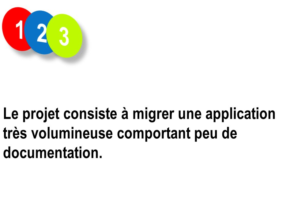 1 2 3 Le projet consiste à migrer une application très volumineuse comportant peu de documentation.