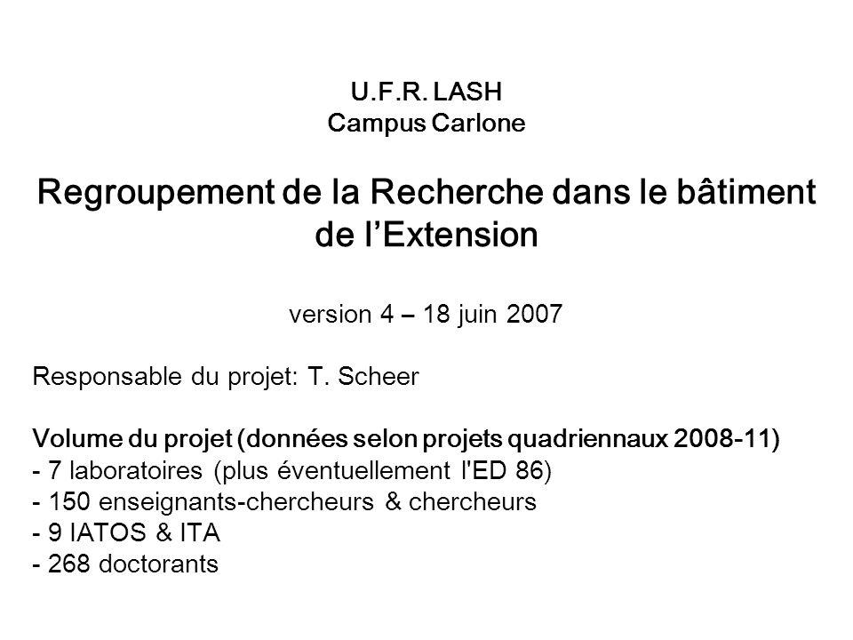Regroupement de la Recherche dans le bâtiment de l'Extension