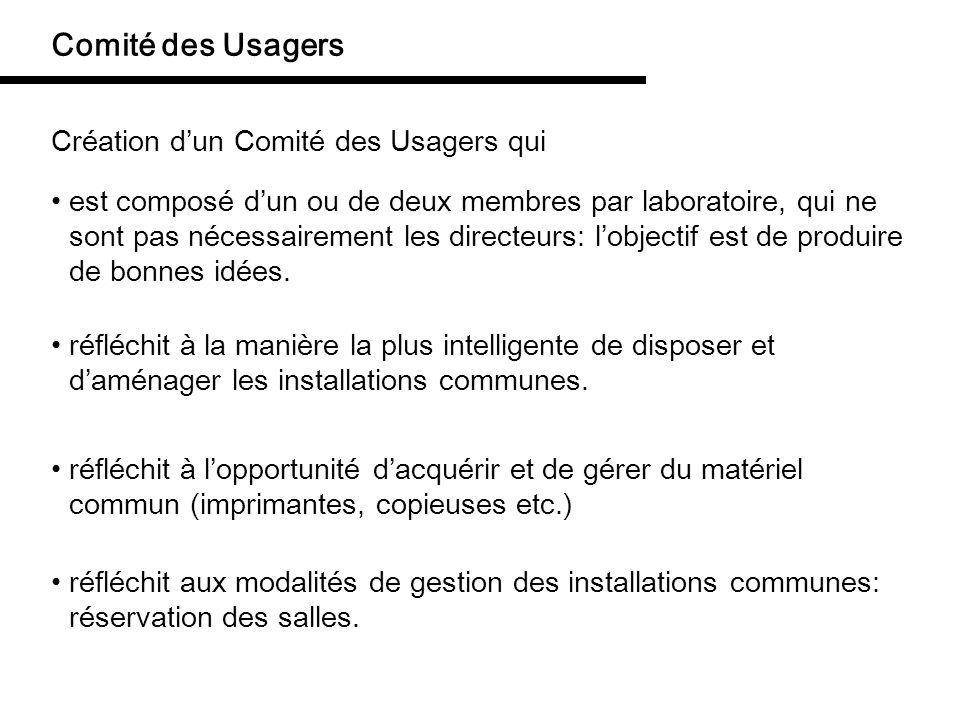 Comité des Usagers Création d'un Comité des Usagers qui