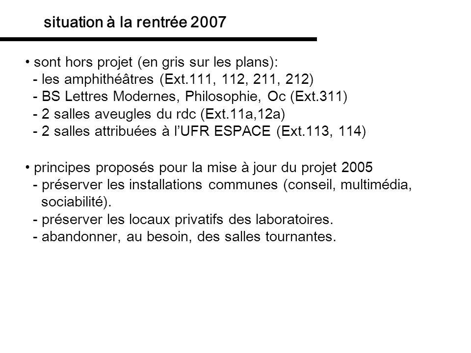 situation à la rentrée 2007 sont hors projet (en gris sur les plans):