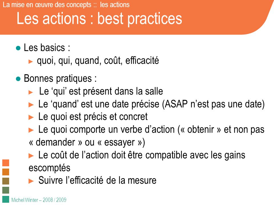 Les actions : best practices
