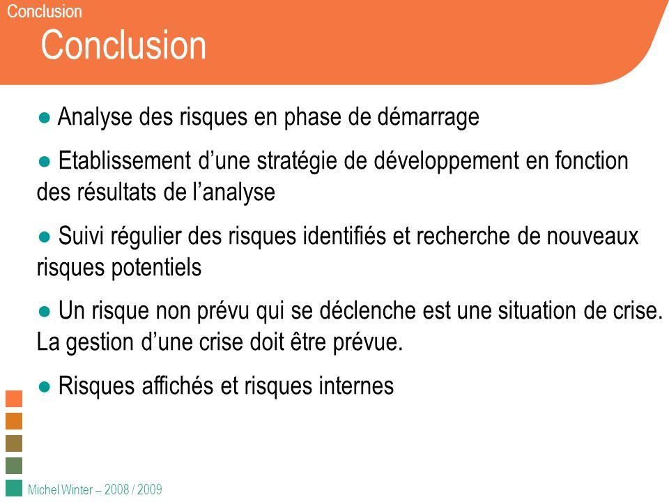 Conclusion Analyse des risques en phase de démarrage