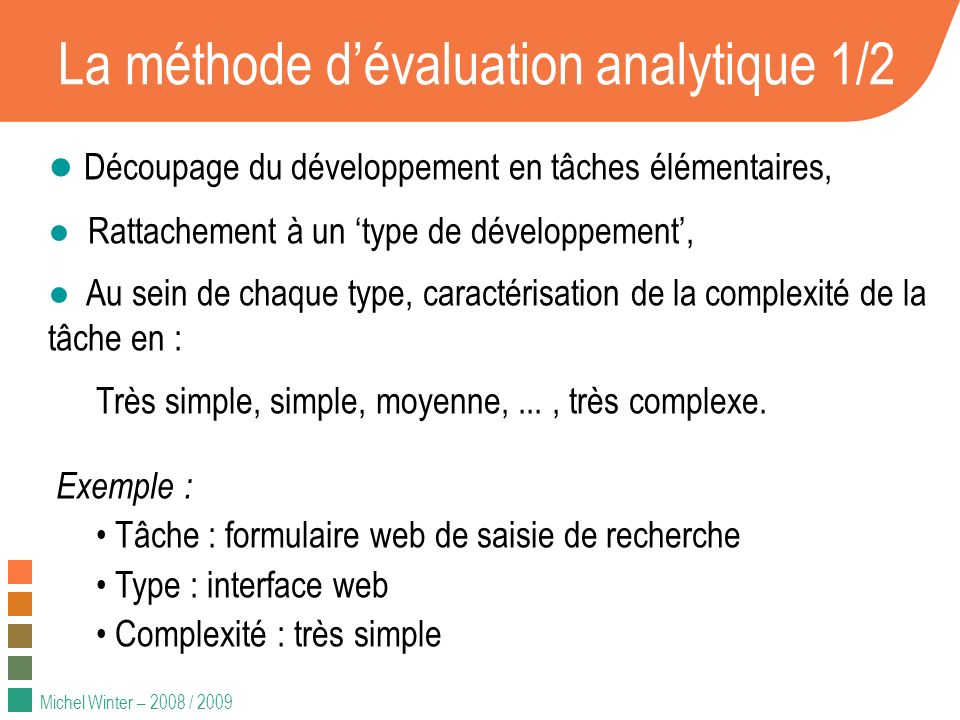 La méthode d'évaluation analytique 1/2