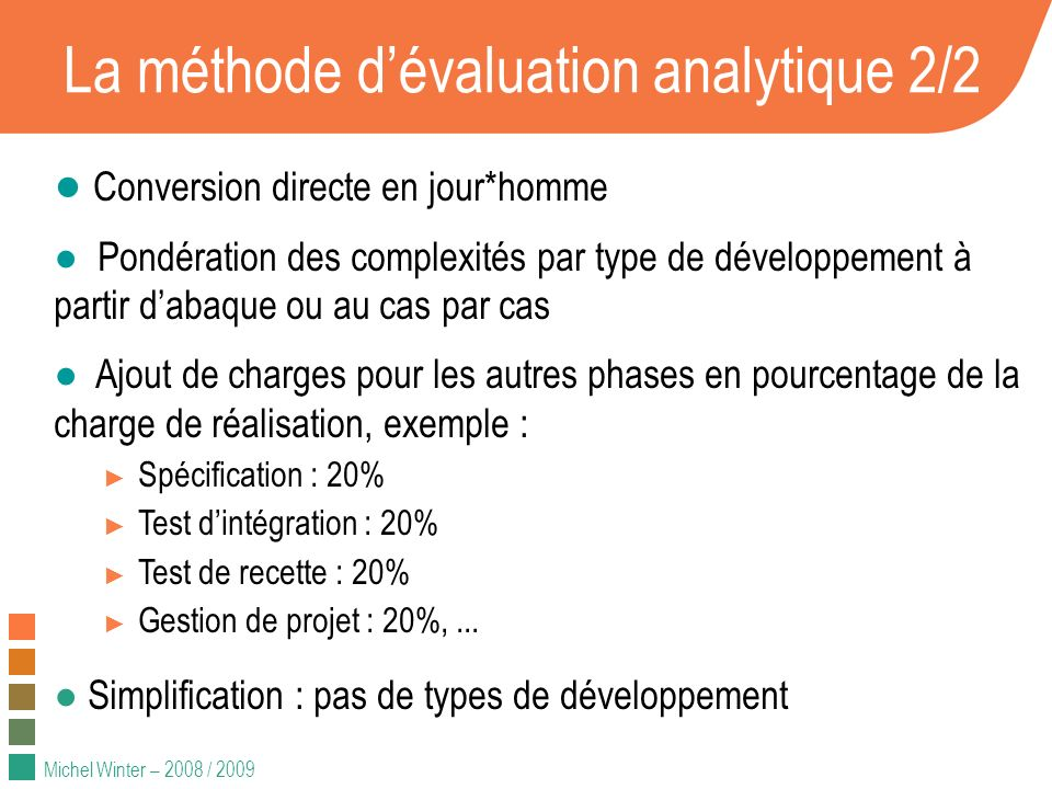 La méthode d'évaluation analytique 2/2