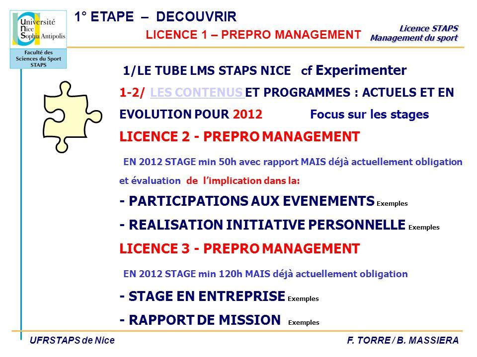 1° ETAPE – DECOUVRIR LICENCE 1 – PREPRO MANAGEMENT