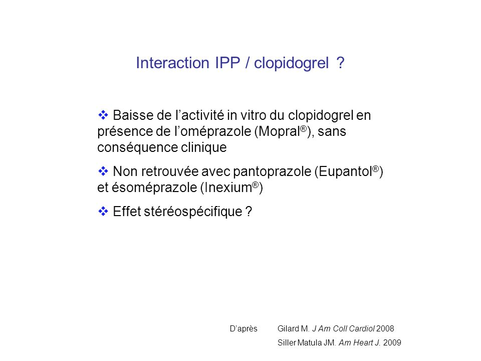 Interaction IPP / clopidogrel