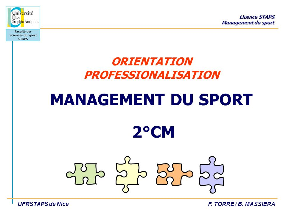 ORIENTATION PROFESSIONALISATION MANAGEMENT DU SPORT 2°CM