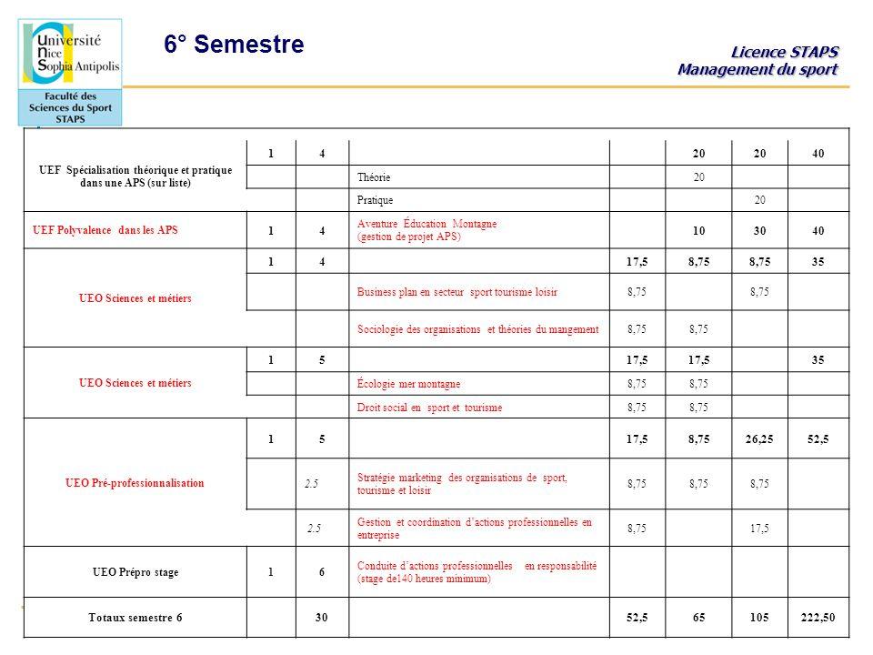 6° Semestre UEF Spécialisation théorique et pratique dans une APS (sur liste) 1. 4. 20. 40.