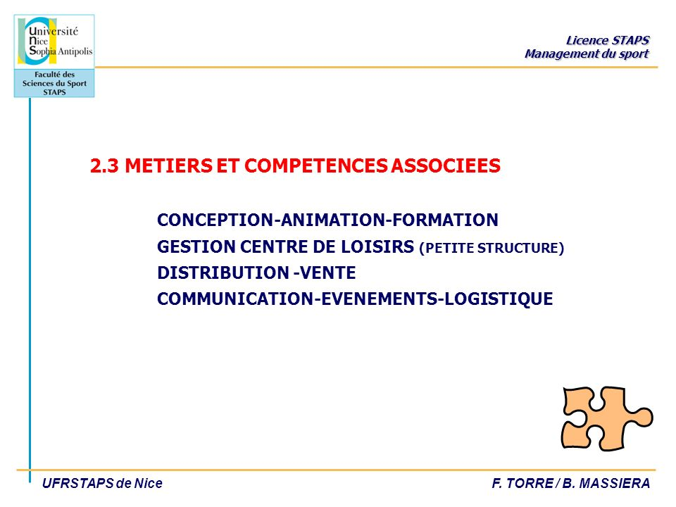 2. 3 METIERS ET COMPETENCES ASSOCIEES. CONCEPTION-ANIMATION-FORMATION