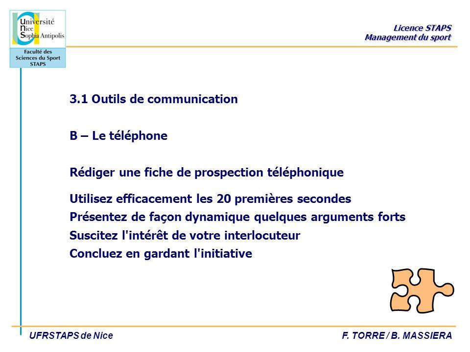 3.1 Outils de communication B – Le téléphone Rédiger une fiche de prospection téléphonique Utilisez efficacement les 20 premières secondes Présentez de façon dynamique quelques arguments forts Suscitez l intérêt de votre interlocuteur Concluez en gardant l initiative