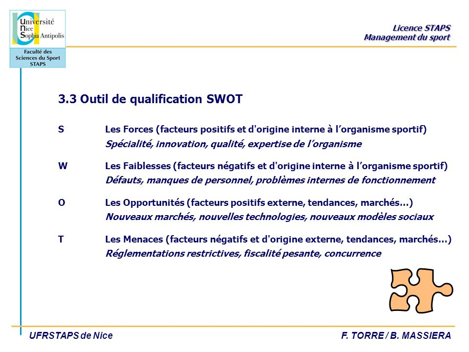 3. 3 Outil de qualification SWOT S