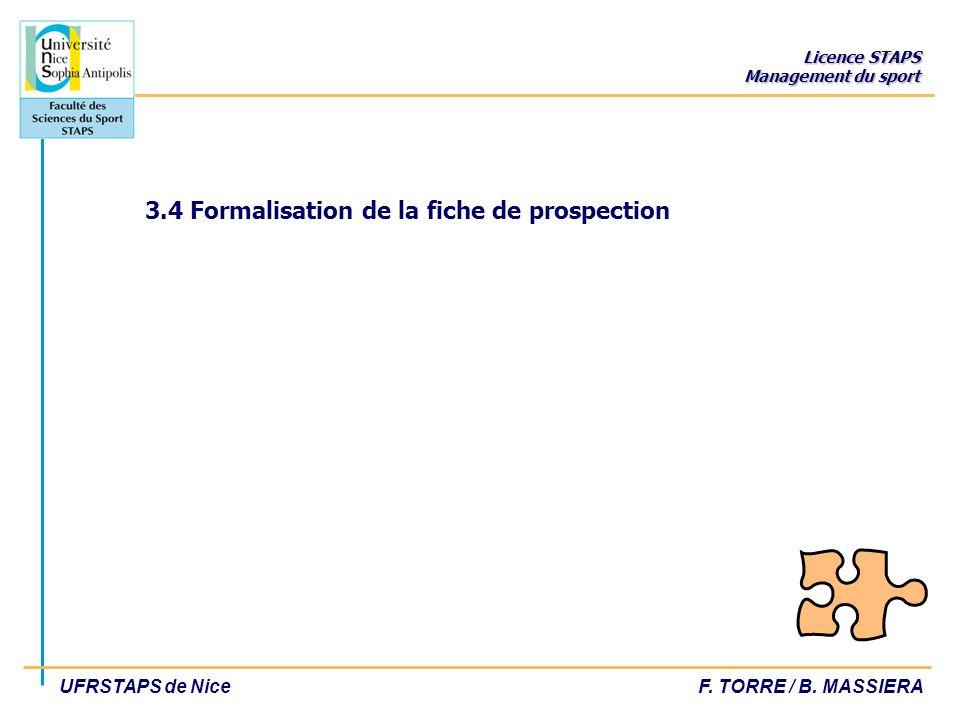 3.4 Formalisation de la fiche de prospection