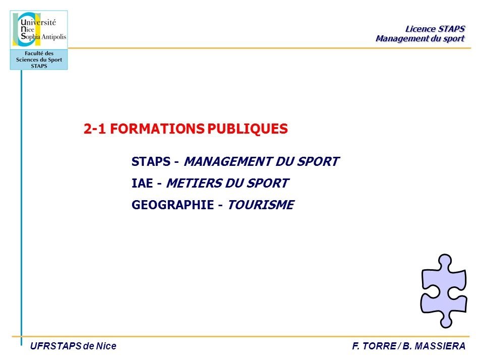 2-1 FORMATIONS PUBLIQUES. STAPS - MANAGEMENT DU SPORT
