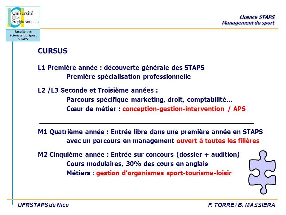 CURSUS L1 Première année : découverte générale des STAPS