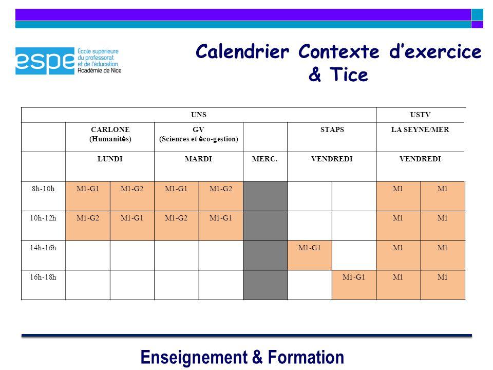 Calendrier Contexte d'exercice & Tice