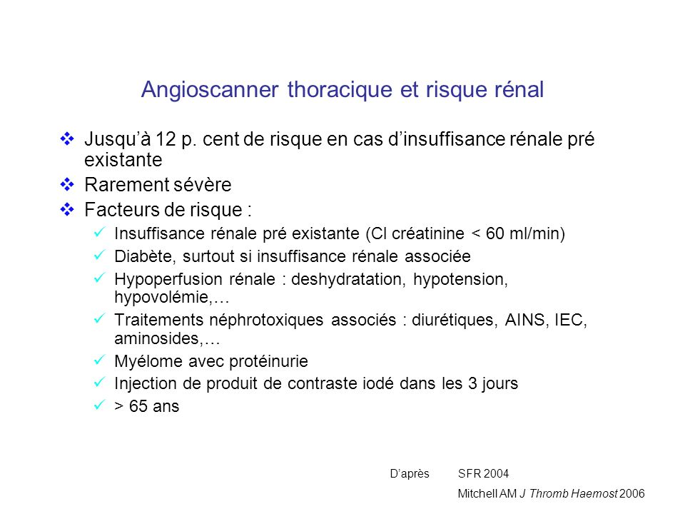 Angioscanner thoracique et risque rénal