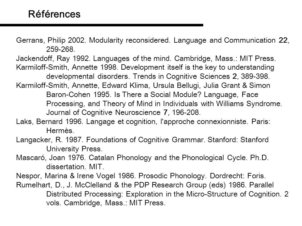 Références Gerrans, Philip 2002. Modularity reconsidered. Language and Communication 22, 259-268.
