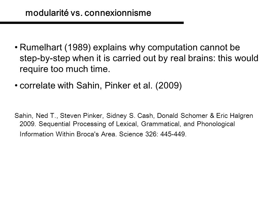 modularité vs. connexionnisme