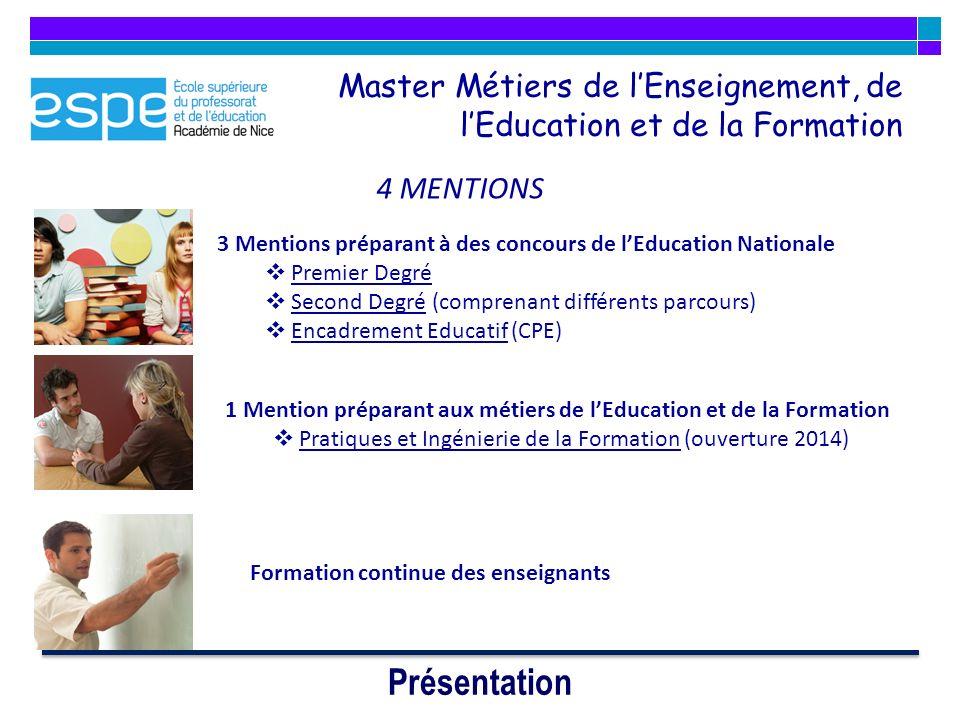 Master Métiers de l'Enseignement, de l'Education et de la Formation