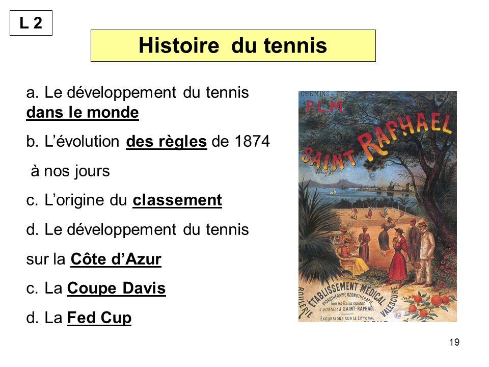 Histoire du tennis L 2 Le développement du tennis dans le monde
