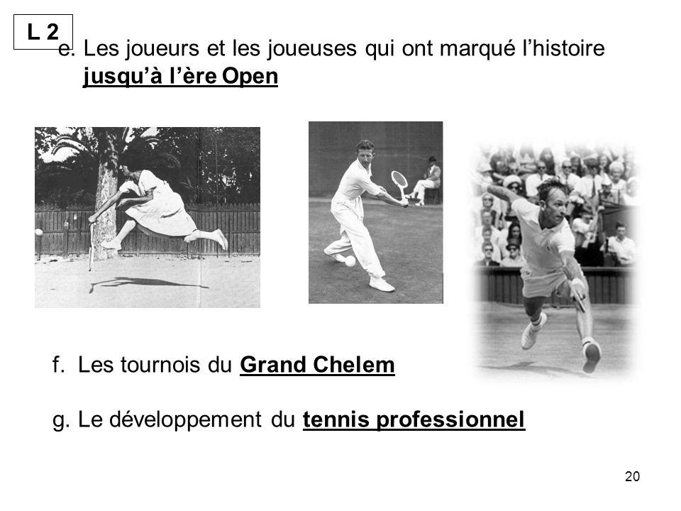 L 2 Les joueurs et les joueuses qui ont marqué l'histoire jusqu'à l'ère Open. Les tournois du Grand Chelem.