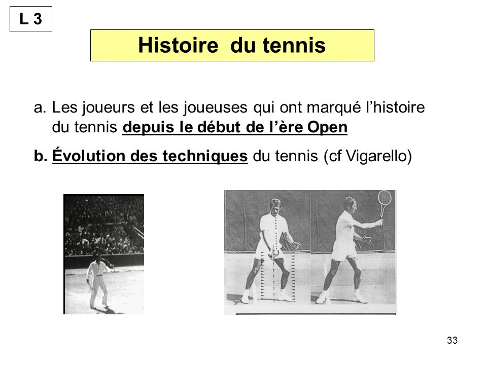 L 3 Histoire du tennis. Les joueurs et les joueuses qui ont marqué l'histoire du tennis depuis le début de l'ère Open.
