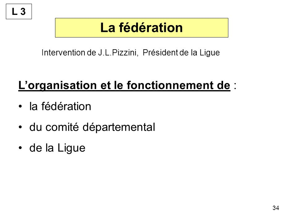La fédération L'organisation et le fonctionnement de : la fédération