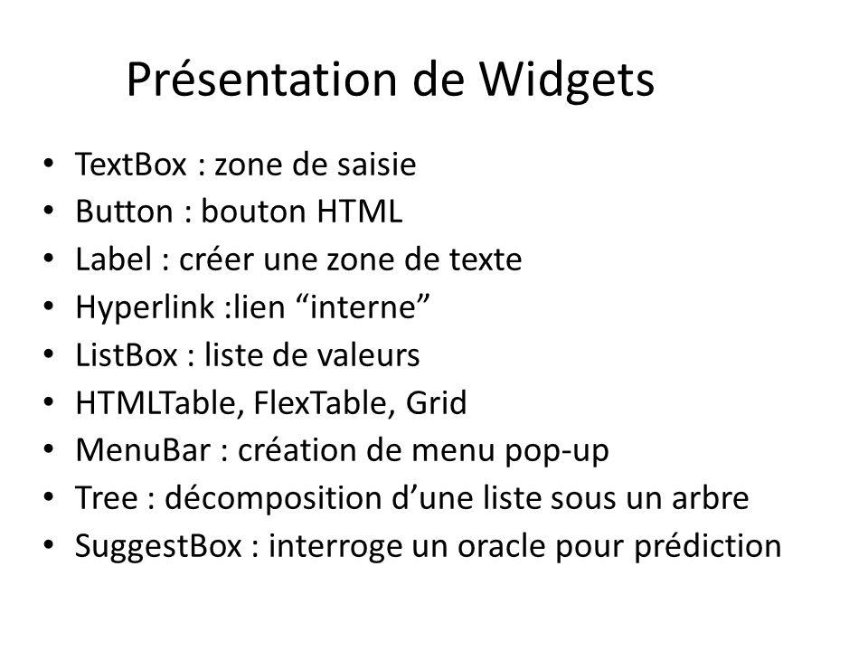 Présentation de Widgets