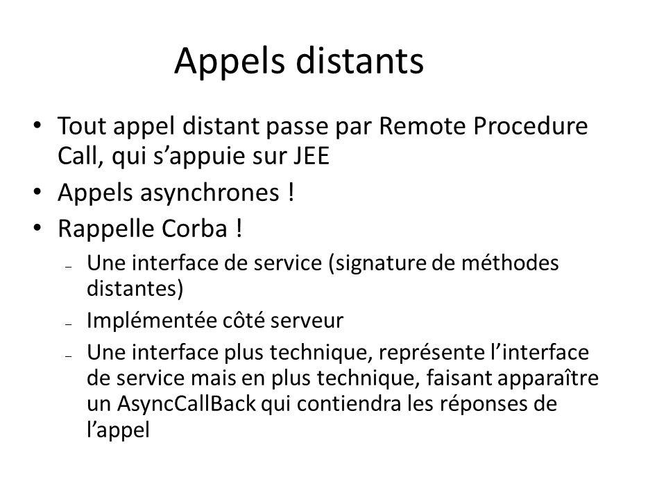 Appels distants Tout appel distant passe par Remote Procedure Call, qui s'appuie sur JEE. Appels asynchrones !