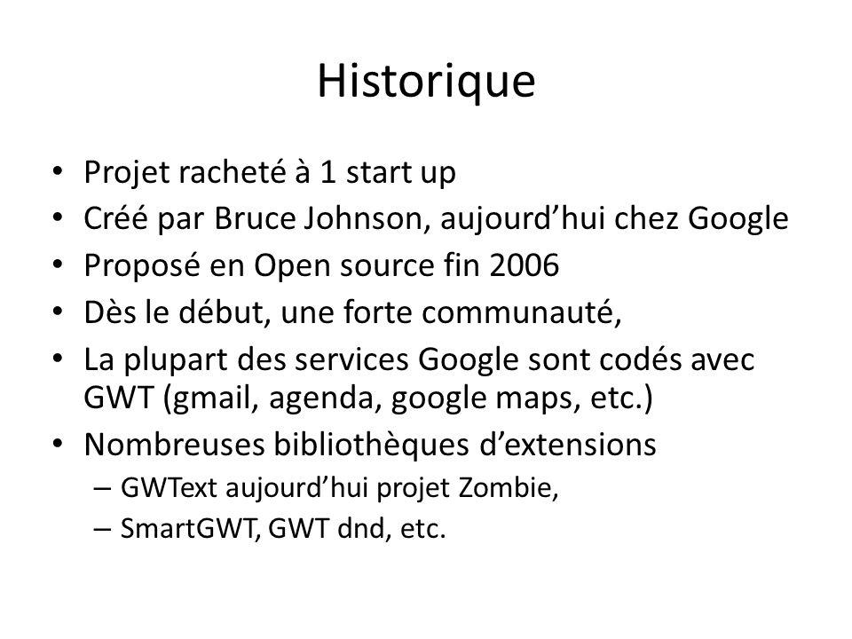 Historique Projet racheté à 1 start up