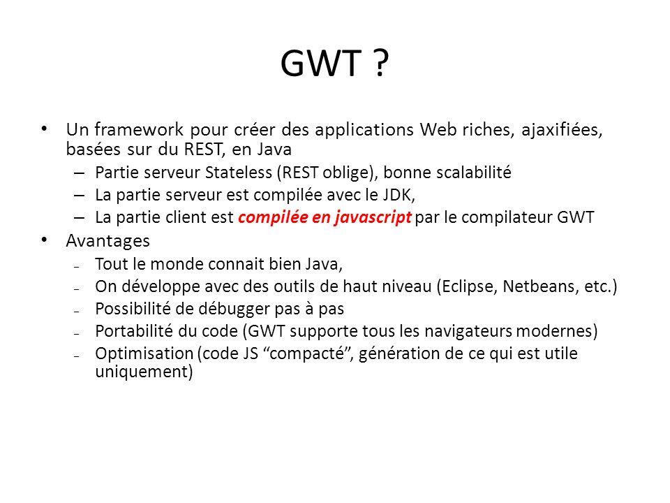 GWT Un framework pour créer des applications Web riches, ajaxifiées, basées sur du REST, en Java.