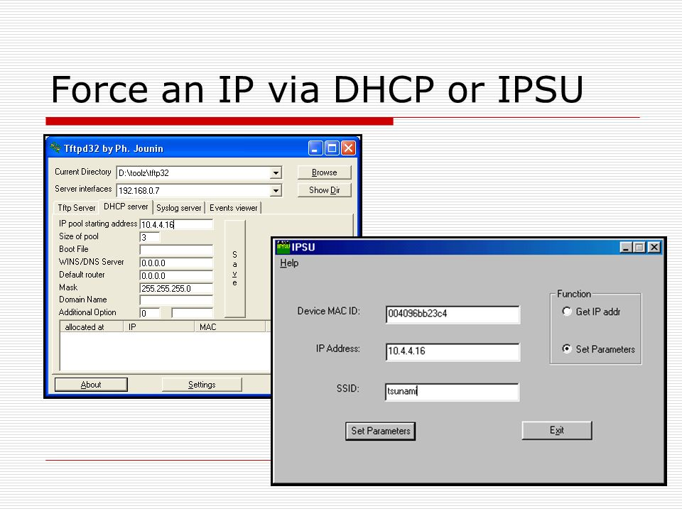 Force an IP via DHCP or IPSU