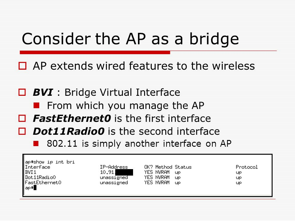 Consider the AP as a bridge