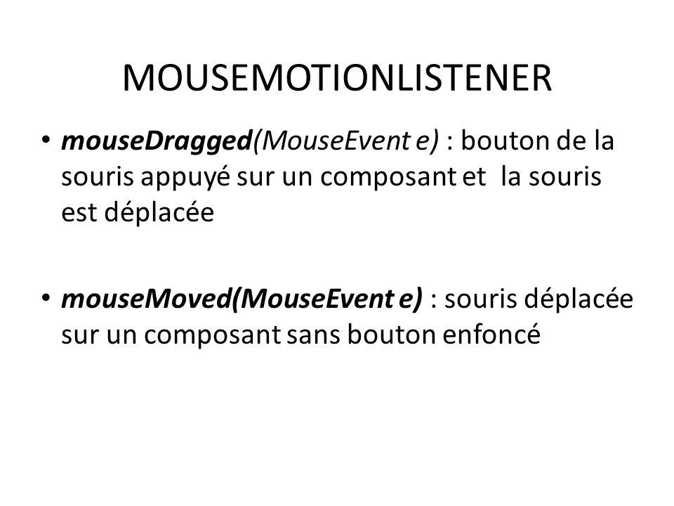 MOUSEMOTIONLISTENER mouseDragged(MouseEvent e) : bouton de la souris appuyé sur un composant et la souris est déplacée.