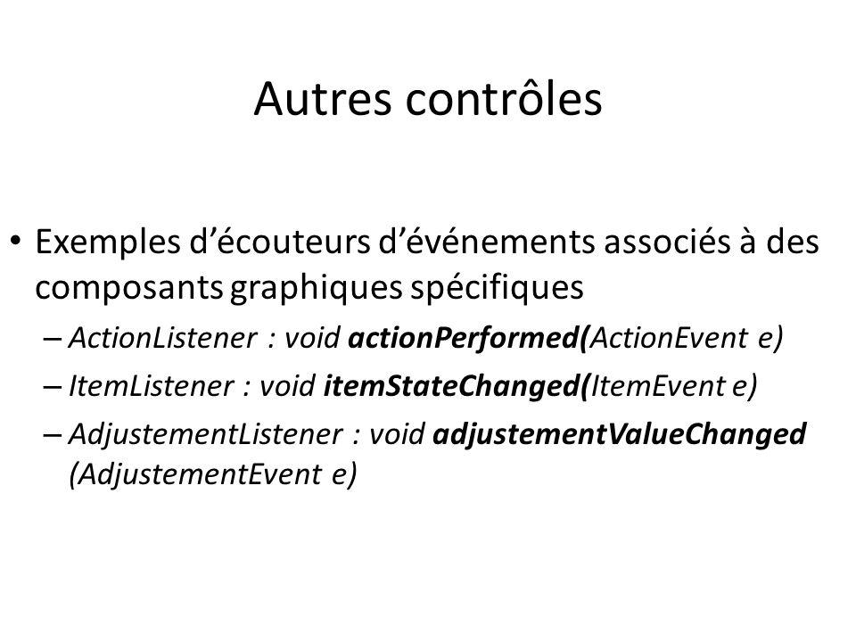 Autres contrôles Exemples d'écouteurs d'événements associés à des composants graphiques spécifiques.
