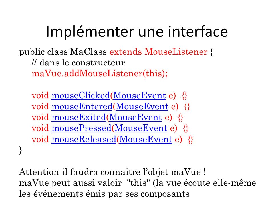 Implémenter une interface