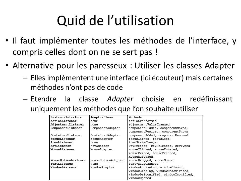 Quid de l'utilisationIl faut implémenter toutes les méthodes de l'interface, y compris celles dont on ne se sert pas !