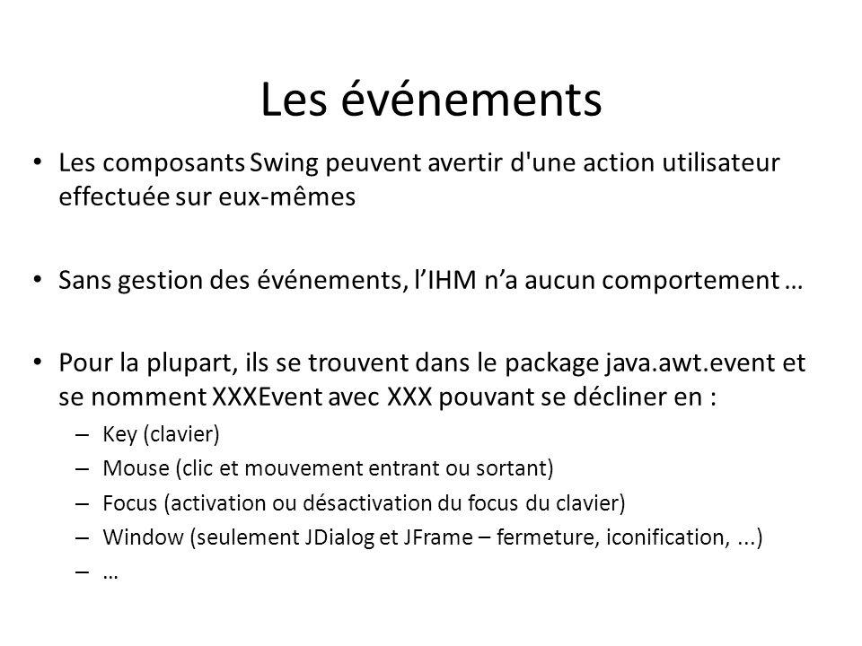 Les événements Les composants Swing peuvent avertir d une action utilisateur effectuée sur eux-mêmes.