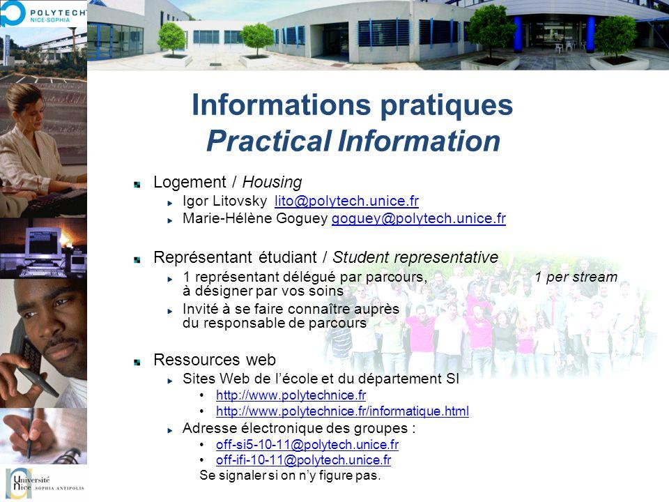 Informations pratiques Practical Information