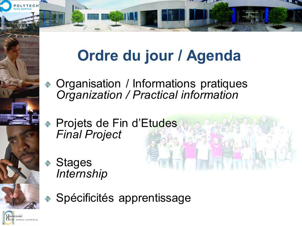 Ordre du jour / Agenda Organisation / Informations pratiques Organization / Practical information. Projets de Fin d'Etudes Final Project.