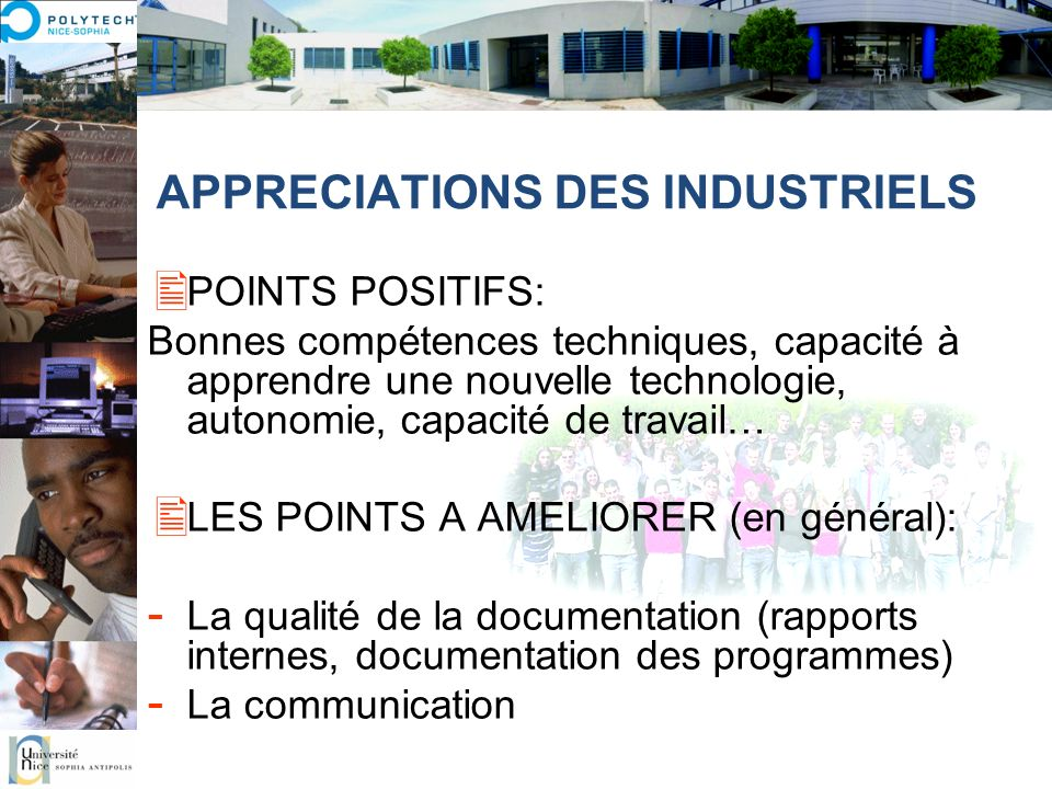 APPRECIATIONS DES INDUSTRIELS
