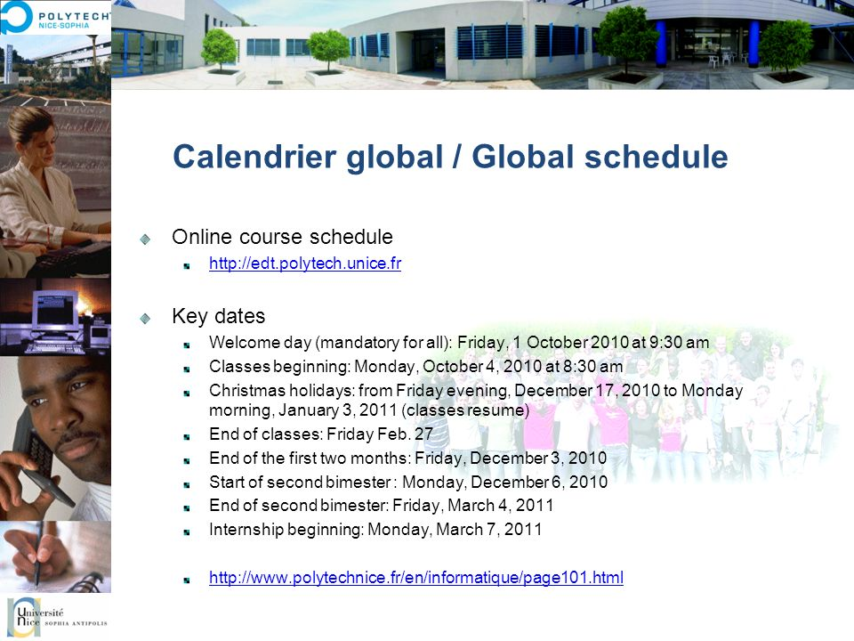 Calendrier global / Global schedule
