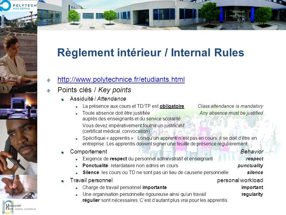 Règlement intérieur / Internal Rules