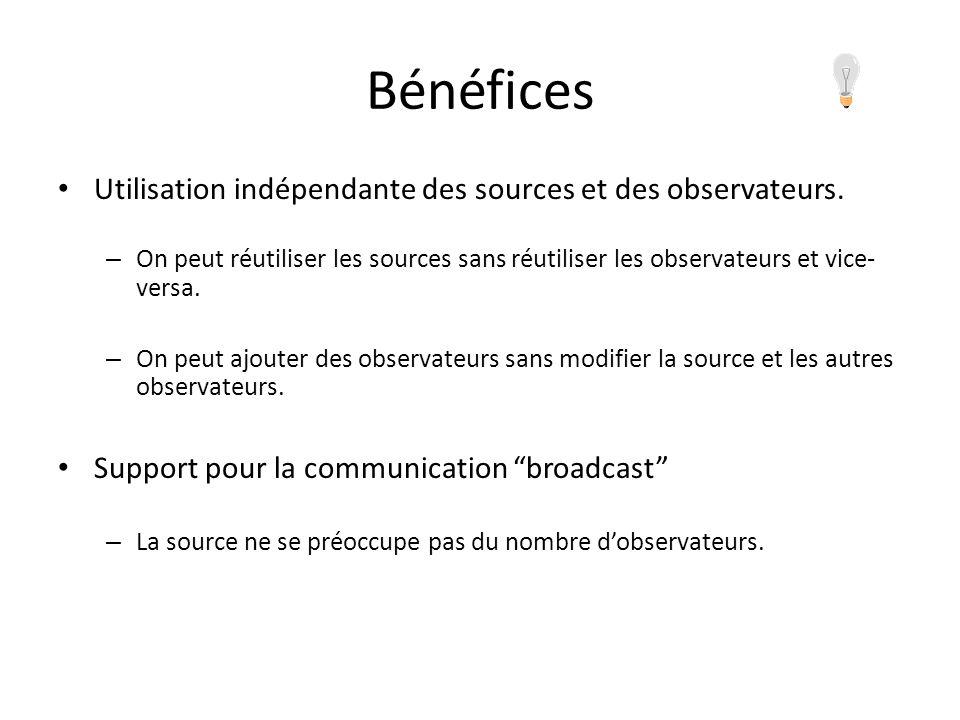 Bénéfices Utilisation indépendante des sources et des observateurs.