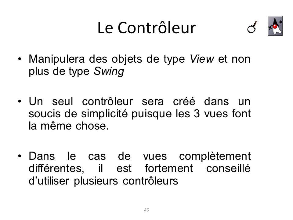 Le Contrôleur Manipulera des objets de type View et non plus de type Swing.