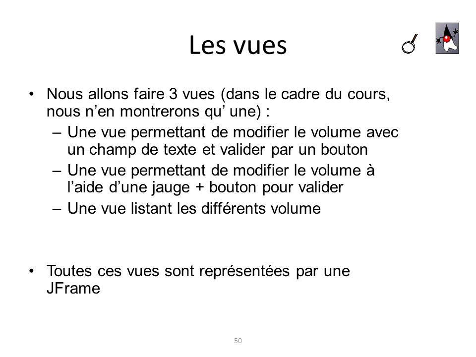 Les vuesNous allons faire 3 vues (dans le cadre du cours, nous n'en montrerons qu' une) :