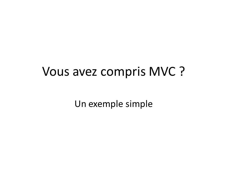 Vous avez compris MVC Un exemple simple