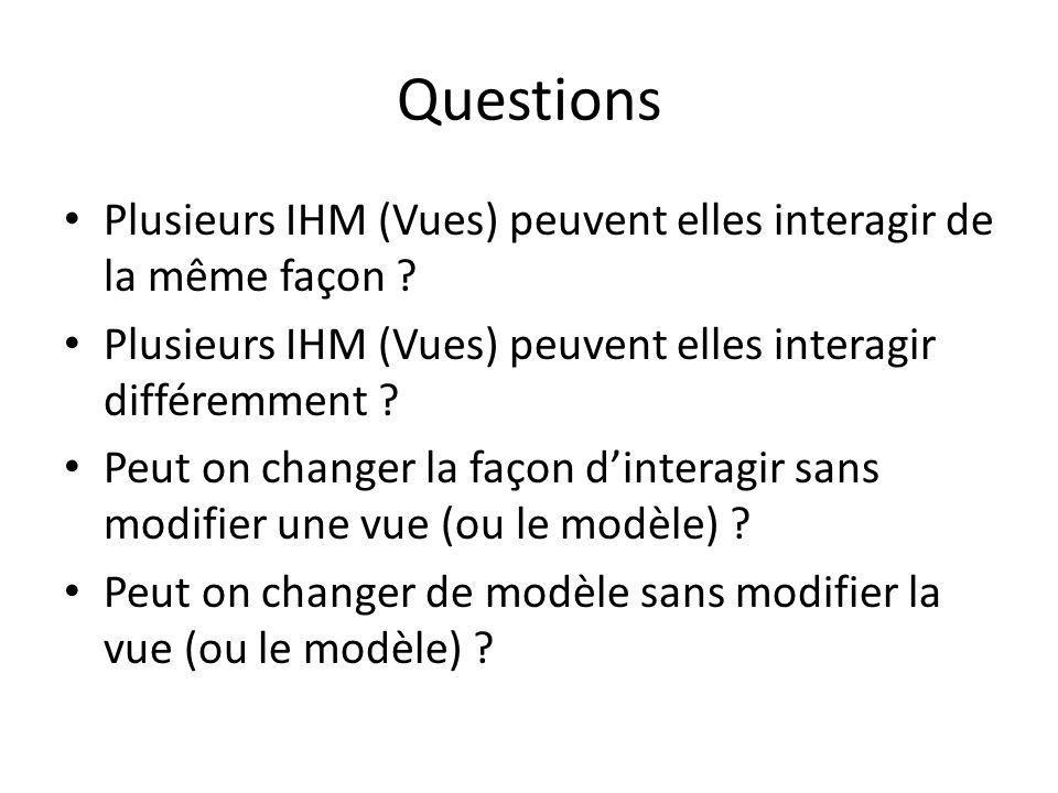 Questions Plusieurs IHM (Vues) peuvent elles interagir de la même façon Plusieurs IHM (Vues) peuvent elles interagir différemment