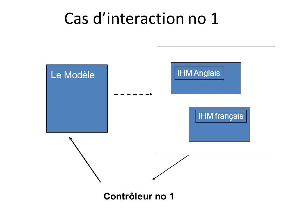 Cas d'interaction no 1 Le Modèle Contrôleur no 1 IHM Anglais