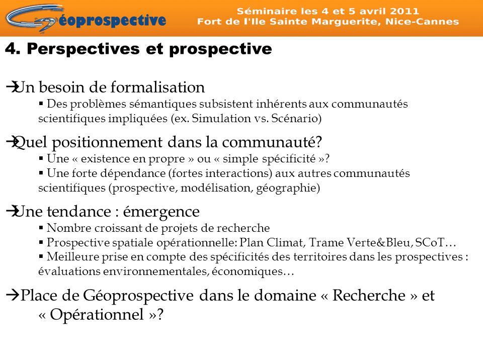 4. Perspectives et prospective Un besoin de formalisation